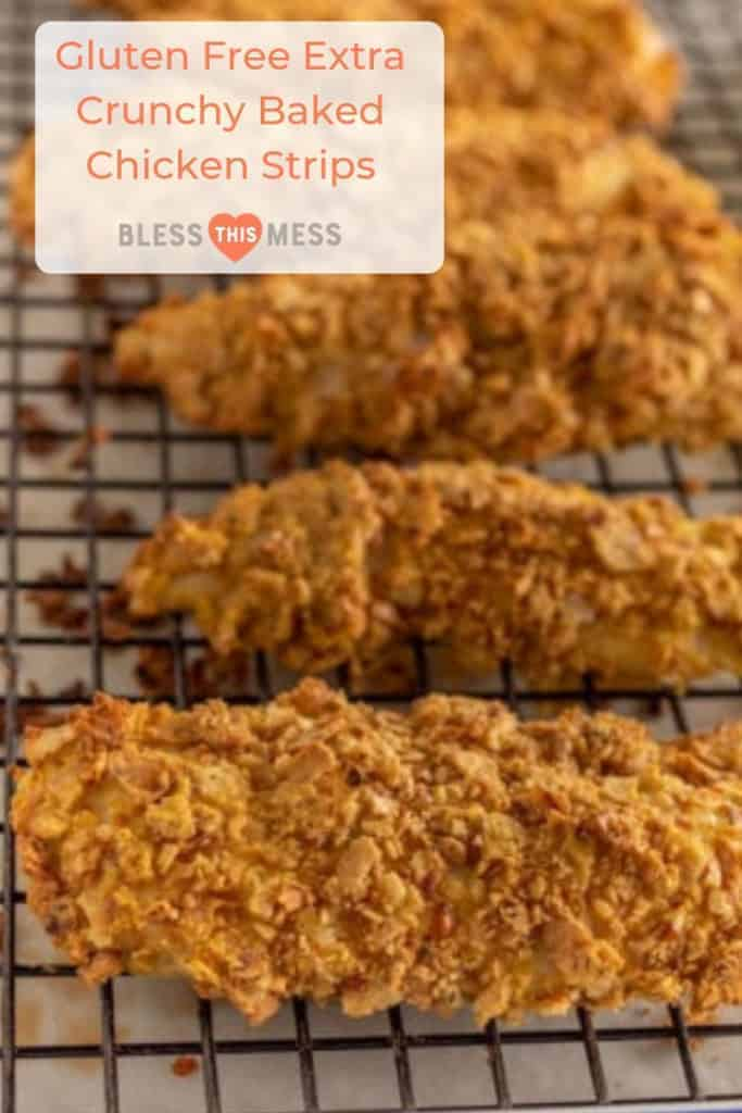 Pinterest Image for Gluten-Free Extra Crunchy Baked Chicken Strips with crunchy breaded chicken strips on a cooling rack