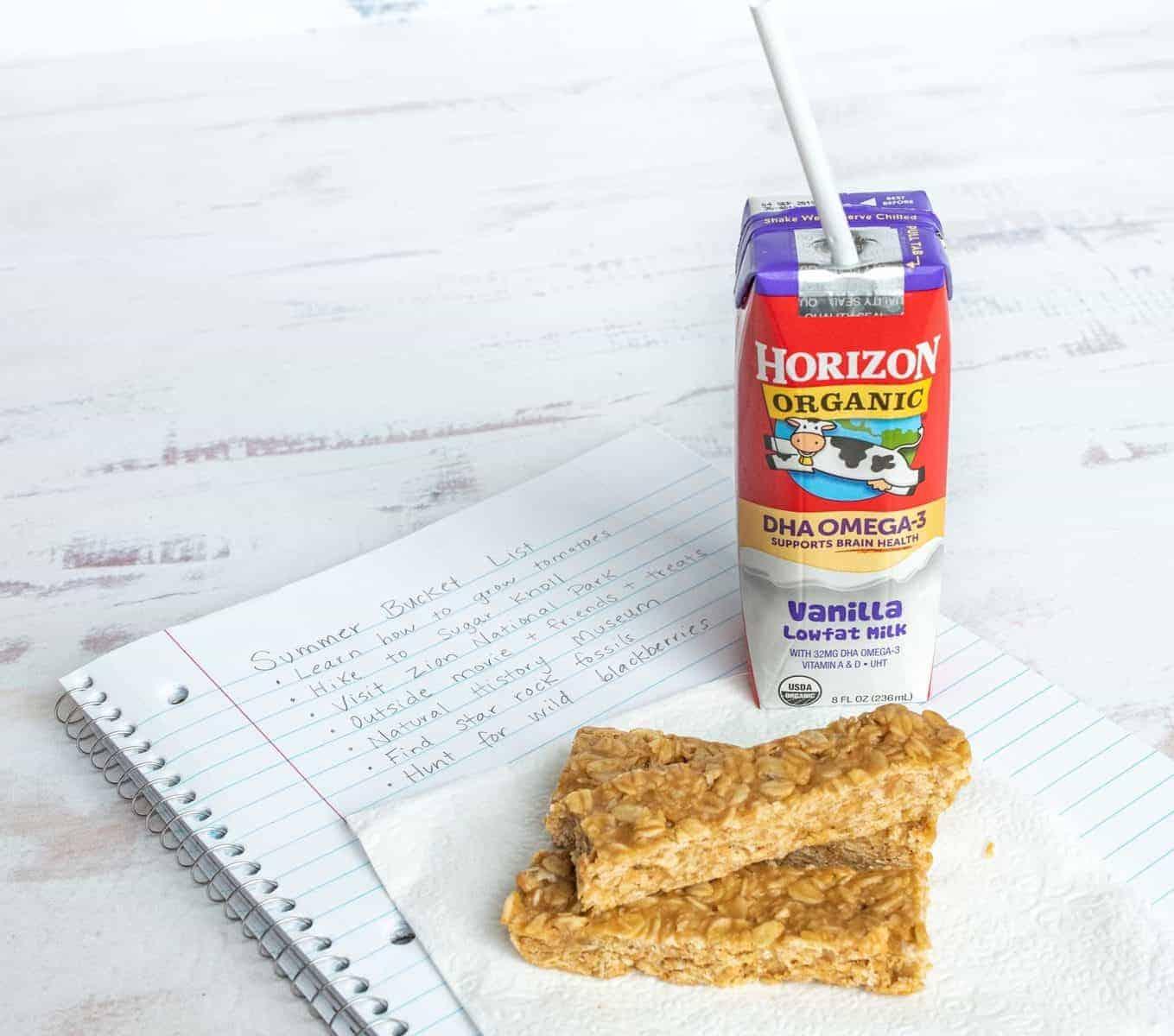 Image of No BakePeanut Butter Honey Granola Bars with Horizon's Organic DHA Omega-3 Milk