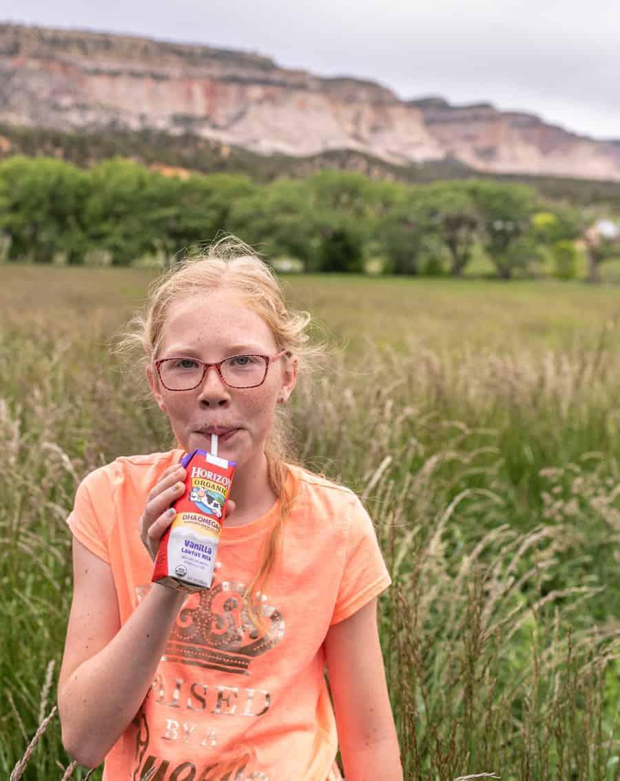 Image of my Daughter Drinking Organic Horizon Omega 3 Milk