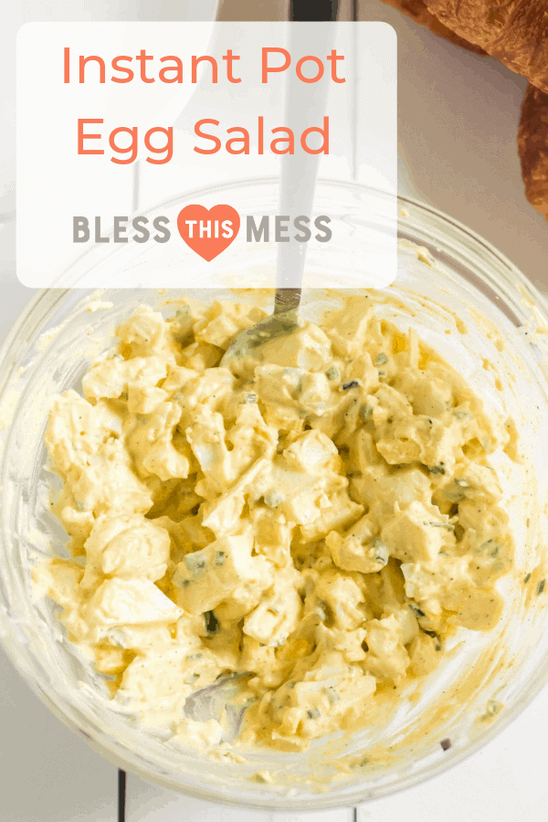 Instant Pot Egg Salad is one of the greatest kitchen hacks I think I've encountered -- delicious and flavorful egg salad with chives, mayo, mustard, and celery salt, and it DOESN'T require you to peel eggs!