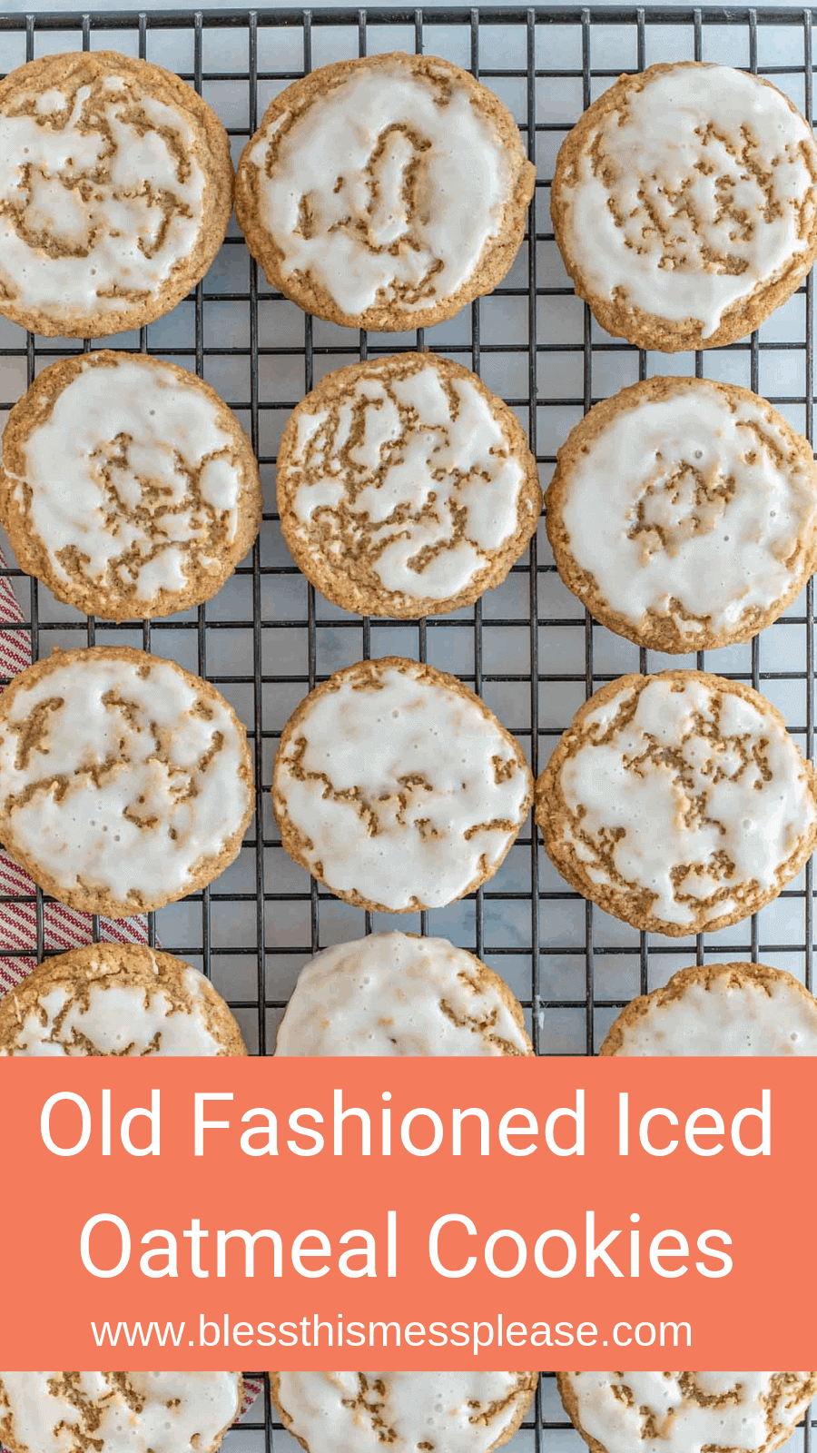 These old fashioned iced oatmeal cookies are the most charming little sweets and have a lovely balance of warm spices and sweet icing!