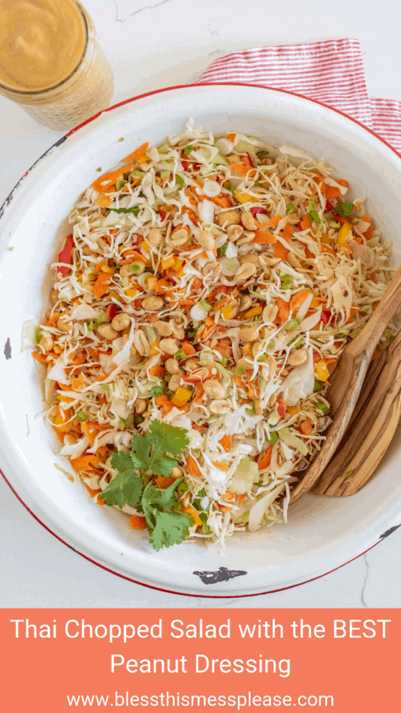 Fresh and crunchy with a dangerously addicting dressing, this Thai chopped salad with the best peanut dressing is everything you could want and beyond in a salad.