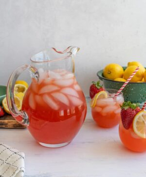Homemade strawberry lemonade is a sweet and fruity refreshment for hot summer days and long afternoons in the sun!