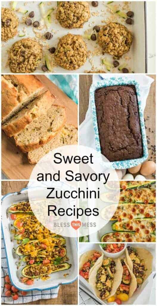 Title Image for Sweet and Savory Zucchini Recipes with images of six zucchini recipes