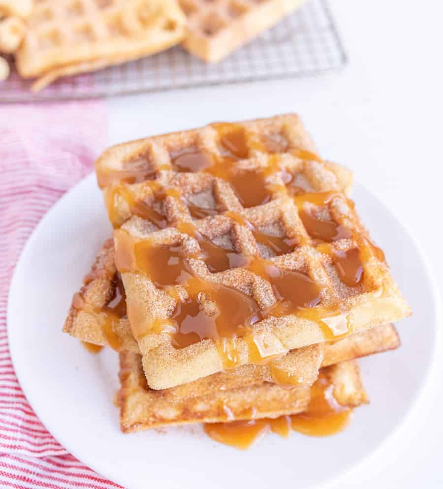 Image of Churro Waffles with Caramel Sauce