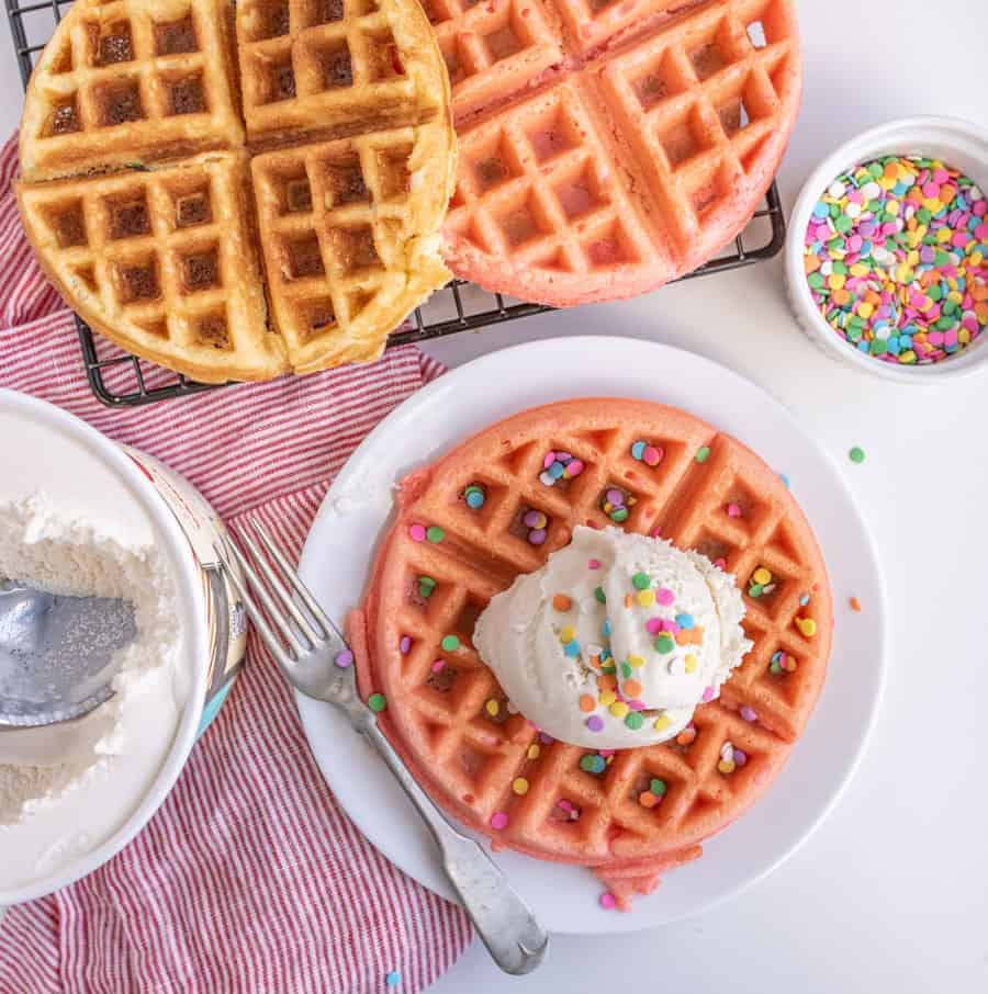 Cake Batter Dessert Waffles Recipe