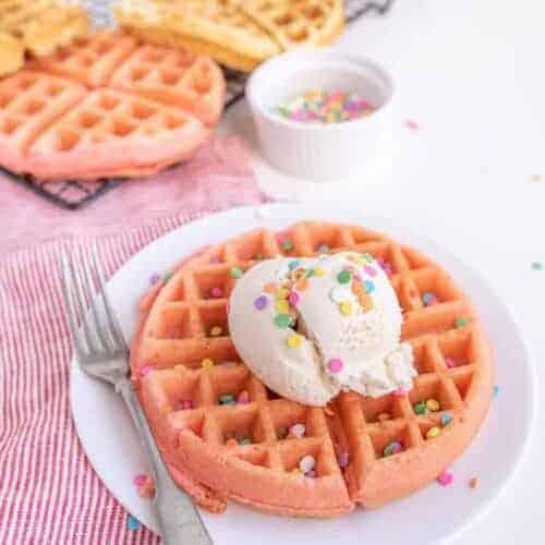 Cake Batter Dessert Waffles with Ice Cream