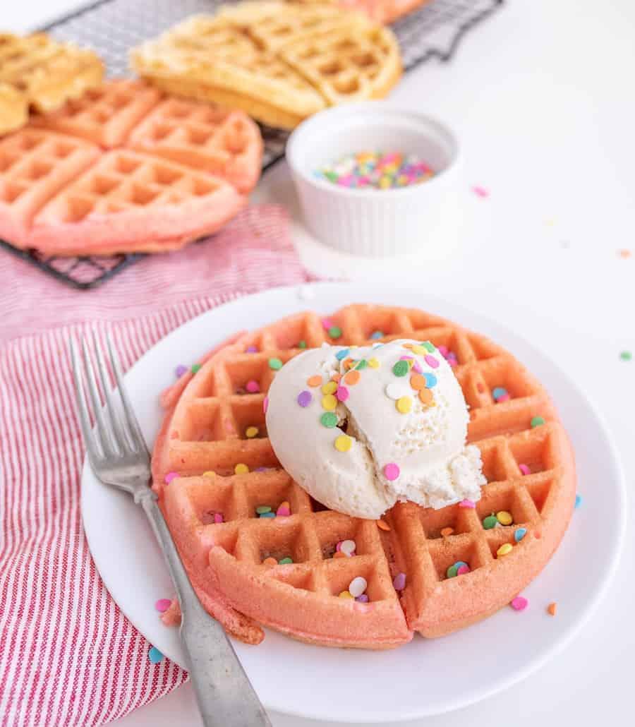 Cake Mix Dessert Waffles with Ice Cream