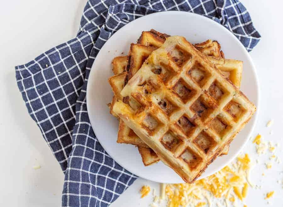 Homemade Savory Crispy Ham and Cheese Waffles