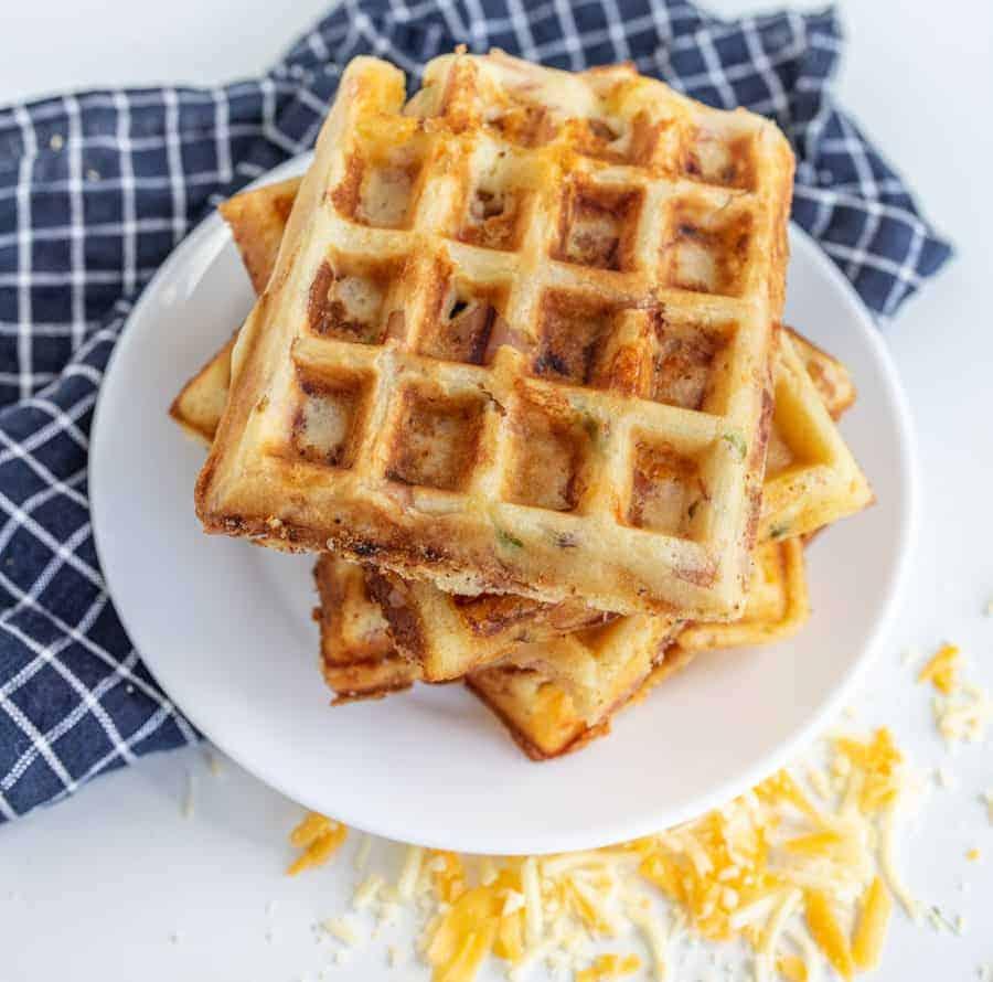 Easy Crispy Ham and Cheese Waffles Recipe