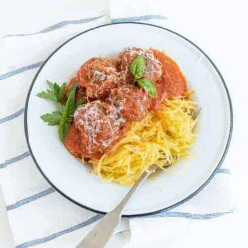 Spaghetti Squash with Meatballs and Tomato Sauce