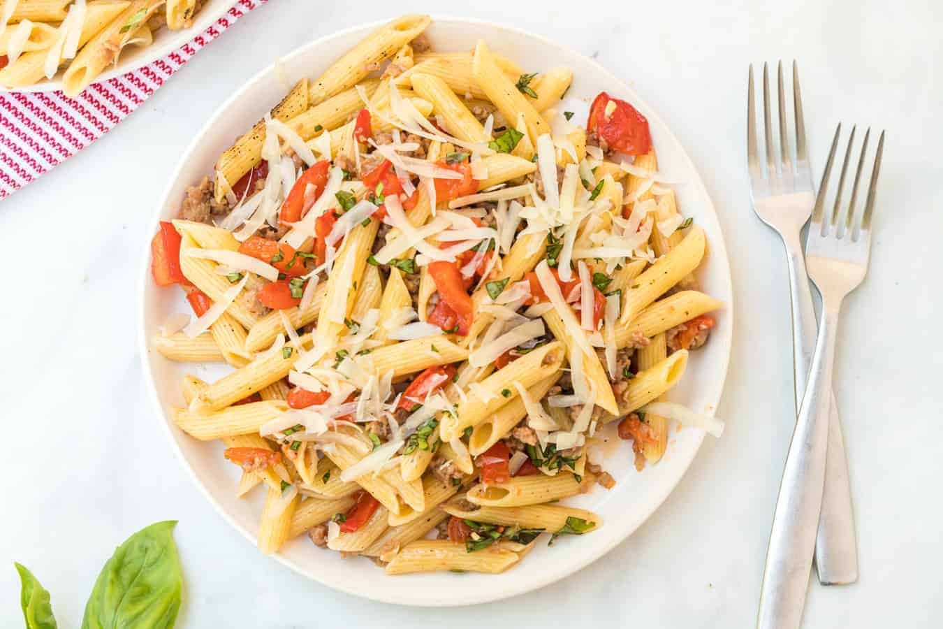 Image of a Plate of Roasted Tomato & Sausage Pasta