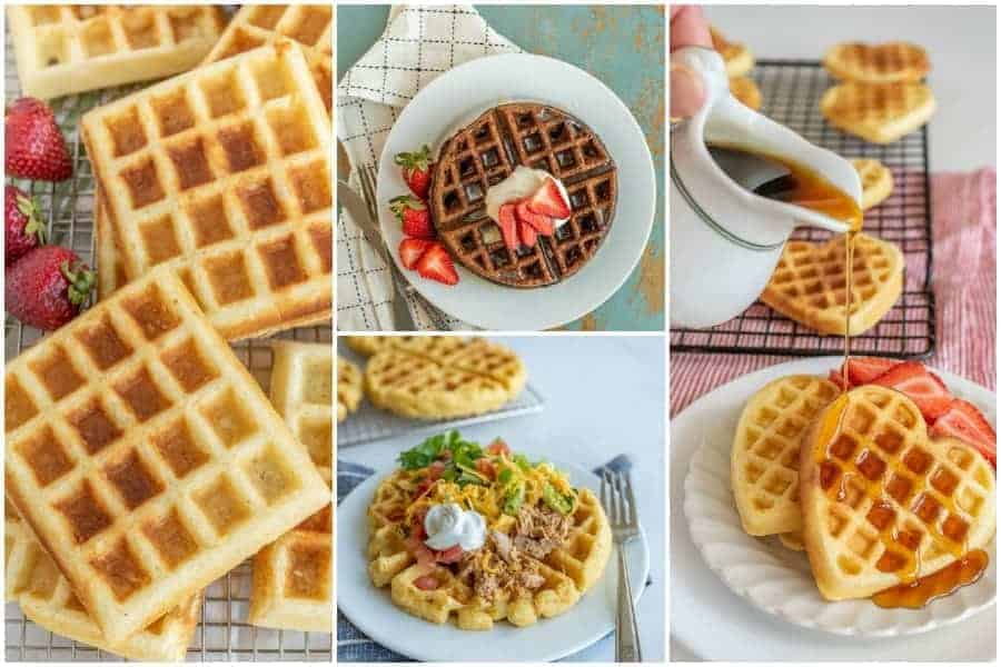 Images of five different types of waffles