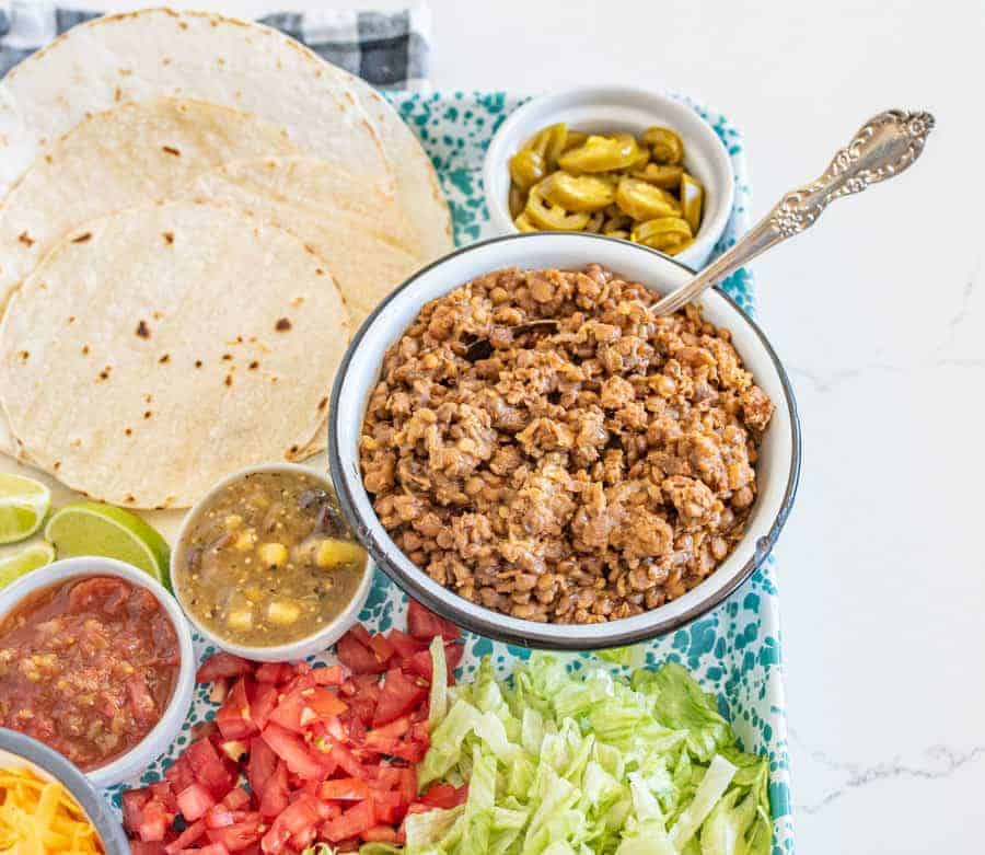 Filling, nutritious, and flavorful, Instant Pot ground turkey and lentil taco filling is a great high-protein alternative to traditional taco meat! #instantpotrecipes #tacos #lentils #groundturkey #healthytacos #lighttacos #turkeytacos #instantpot