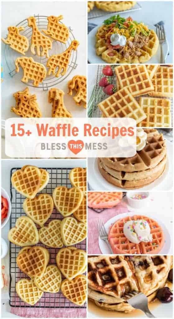 Title Image for 15+ Waffle Recipes with images of seven different waffle ideas