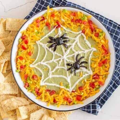 Easy Halloween Spiderweb Bean Dip