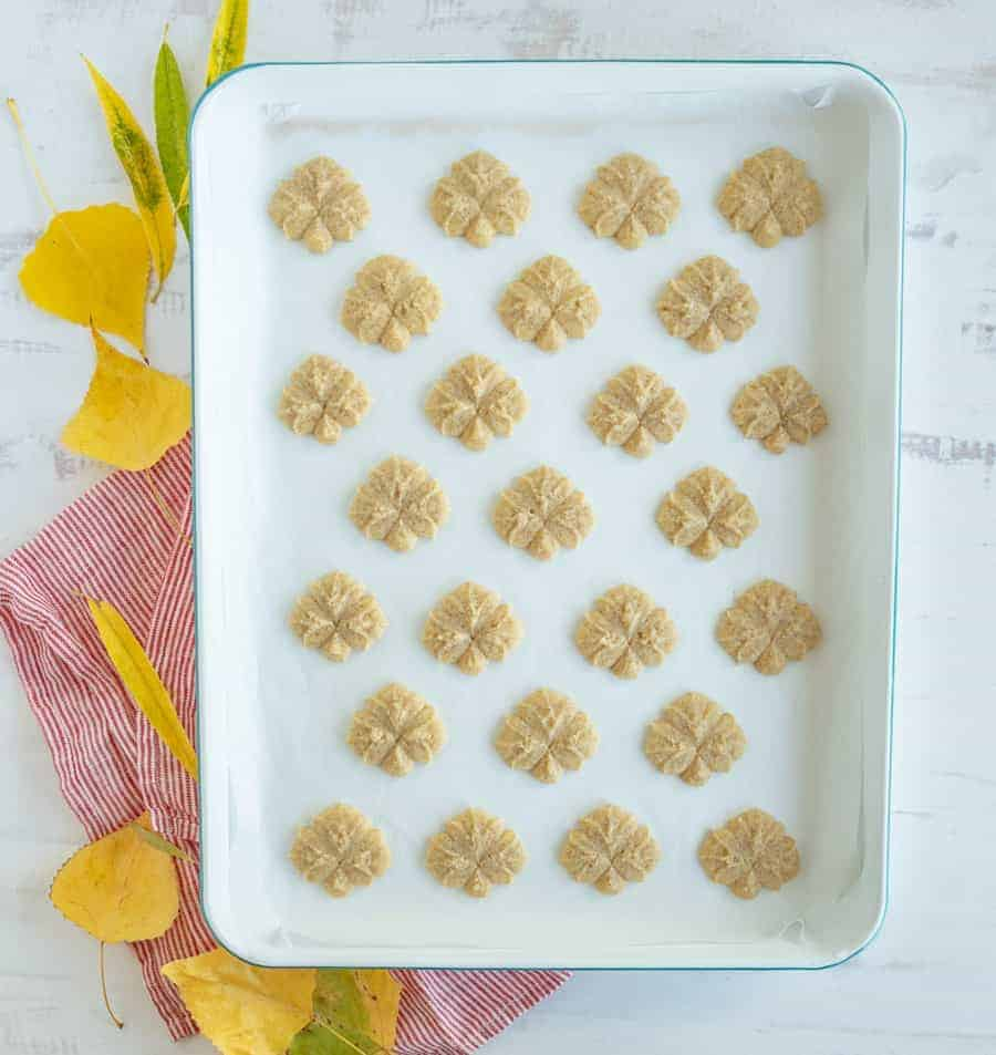 Pumpkin pie spice spritz cookies are small and crunchy cookies that have the warm spices of pumpkin pie mixed with a little bit of sweetness! #spritzcookies #spritz #spritzcookierecipe #pumpkincookie #pumpkinspritz