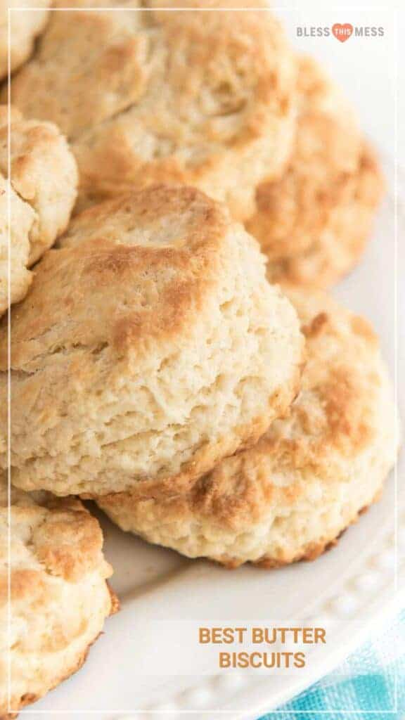 Title Image for Best Butter Biscuits with a stack of biscuits on a plate