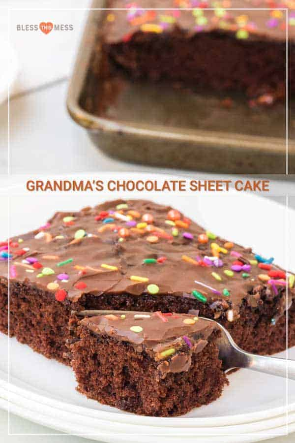 This chocolate sheet cake recipewith easy-to-make homemade icing is the tastiest dessert ever! If you're celebrating a birthday any time soon, this cake is a perfect option. You can easily make a birthday cake (or any celebration cake) with this semi-homemade recipe that is seriously divine! #sheetcake #chocolatesheetcake #homemadecake #cake #chocolatecake #cakerecipe #sheetcakerecipe #easycakerecipe #homemadeicing #chocolateicing
