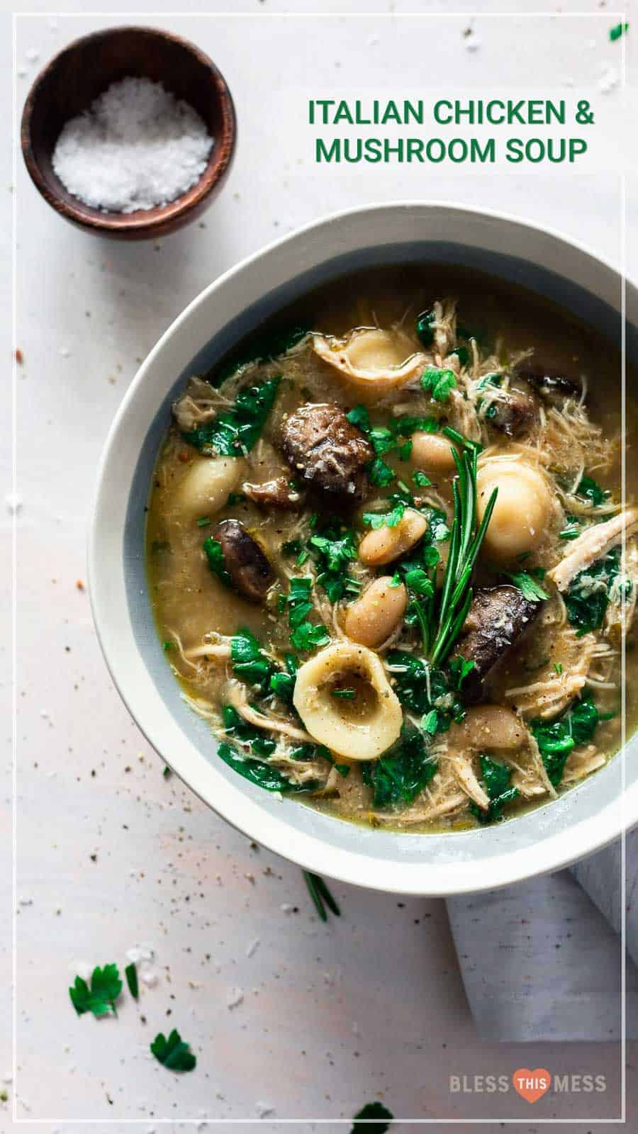 Flavorful and hearty, this Italian chicken and mushroom soup is warming to the soul and is totally easy to make a big batch of on a chilly night! Packed with flavor and delicious ingredients, you'll love this soup for fall and winter nights when all you want is something warm and comforting. #italiansoup #soup #chickensoup #mushroomsoup #souprecipes #italianrecipes