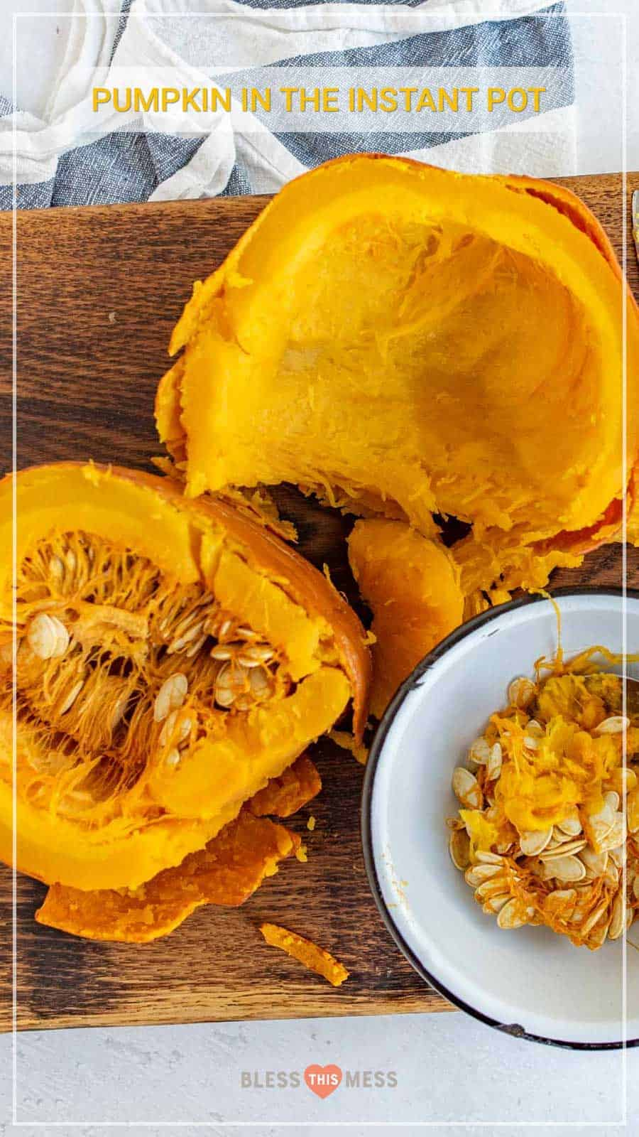 Learn how to cook pumpkin in the Instant Pot with this simple guide, so you can enjoy all the pumpkin soups, pies, and other fall recipes you and your family love! It's a cinch (and so fast) to cook pumpkin in the Instant Pot -- easy enough that you'll find yourself ditching the canned store-bought kind! #pumpkin #pumpkinpuree #pumpkinrecipes #pumpkininstantpot #instantpot #instantpotrecipes