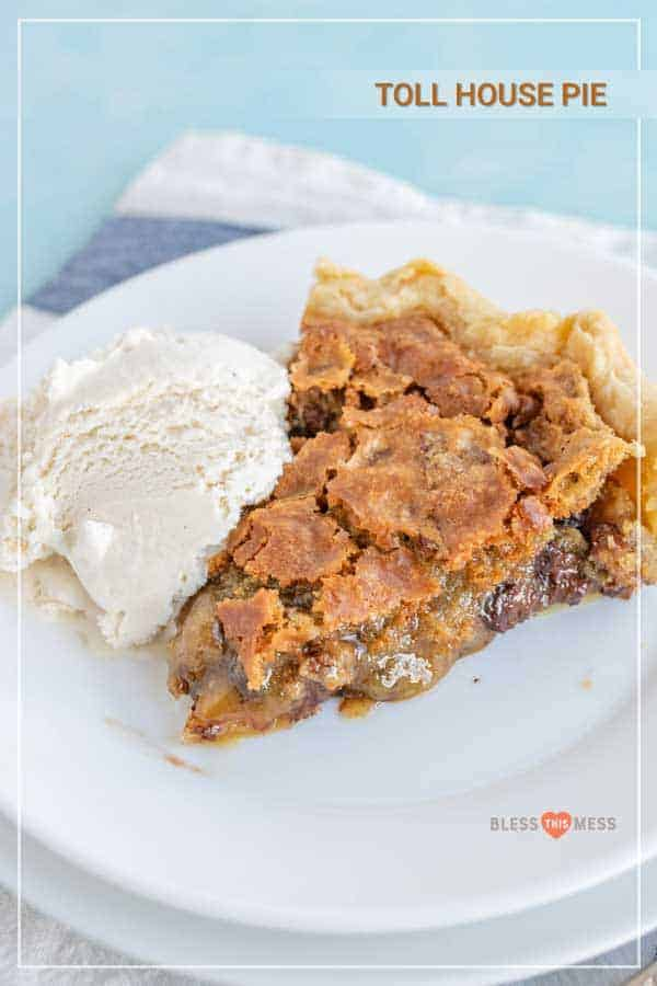 This Toll House pie is one of my favorites for the holidays or any special occasion -- it tastes like a thick and fluffy chocolate chip cookie baked in a flaky, buttery pie crust, and it's seriously heaven. It's one of the best pies to make because it's so easy, you can make it ahead of time, it tastes incredible, and it travels well! Score. #tollhousepie #chocolatechipcookiepie #tollhousepierecipe #cookiepie #chocolatechipcookie #holidaydesserts #holidaysweets #holidaybaking