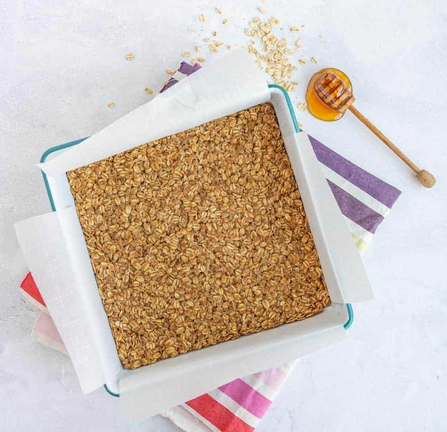 easy homemade granola bars in white dish with honeycomb