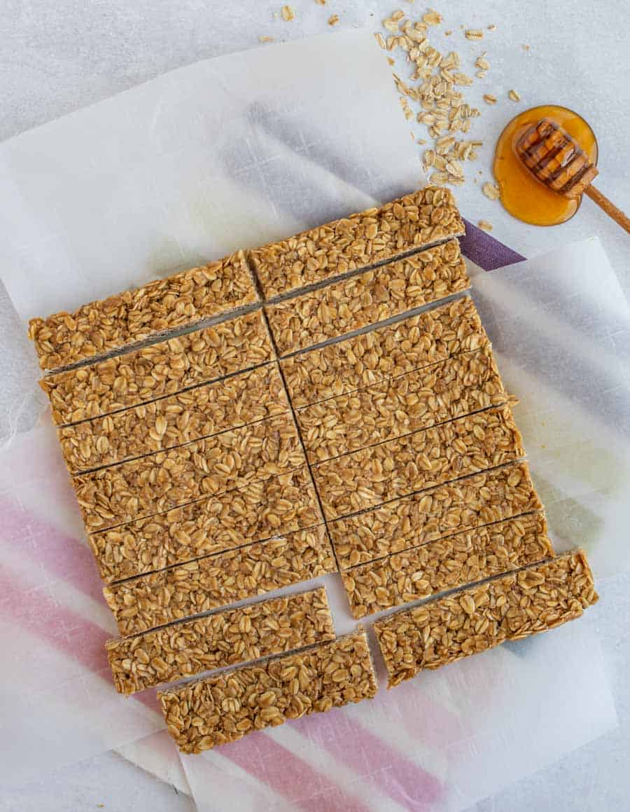 easy homemade granola bars on parchment paper with honey