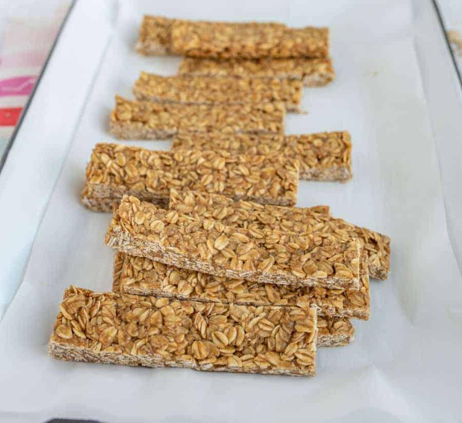 healthy homemade granola bars on white dish