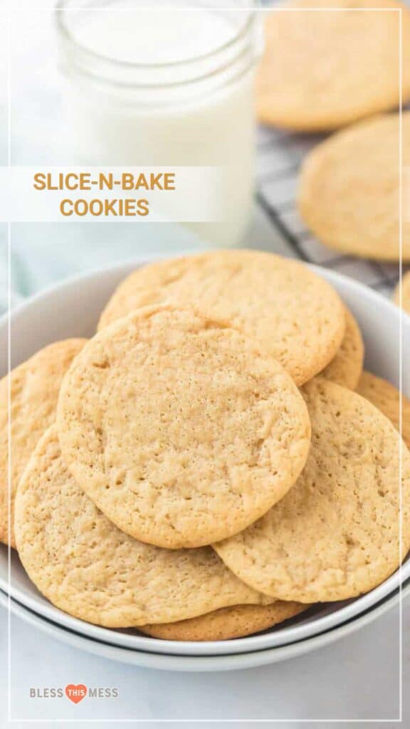 Title Image for Slice-N-Bake Cookies and a white bowl of round sugar cookies