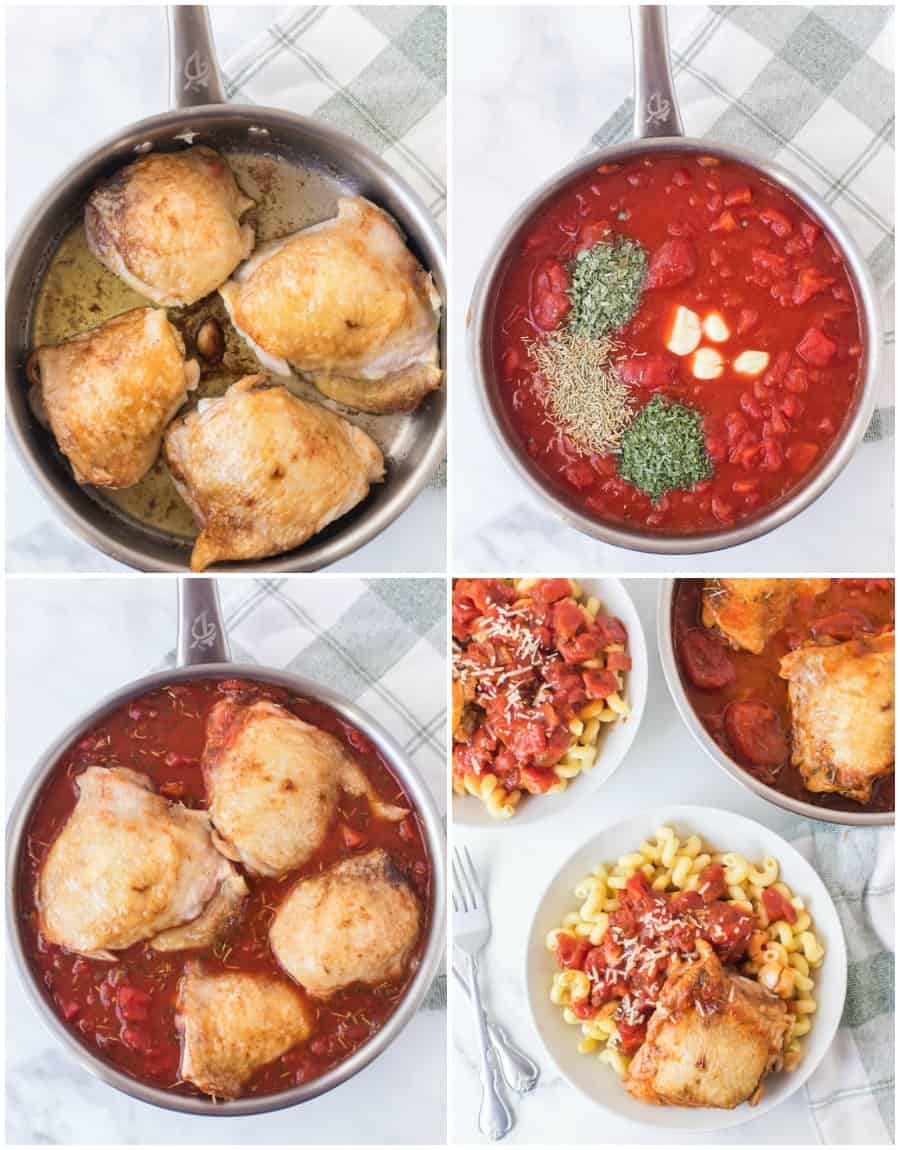 tomato and garlic cavatappi pasta with chicken thigh in bowls and chicken thighs in skillet
