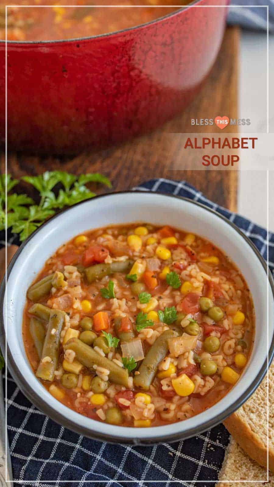 Healthy Alphabet Soup in bowl
