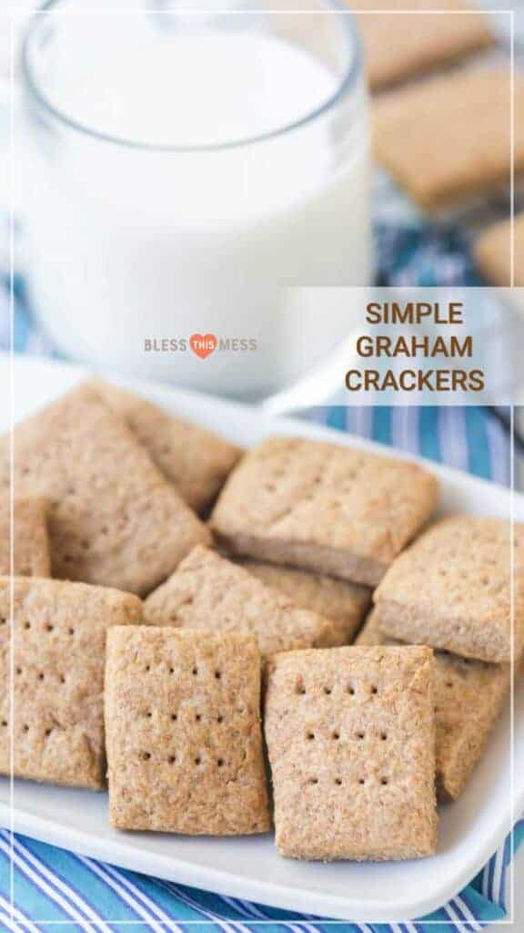 Title Image for Simple Graham Crackers and a glass of milk with a bowl of homemade graham crackers