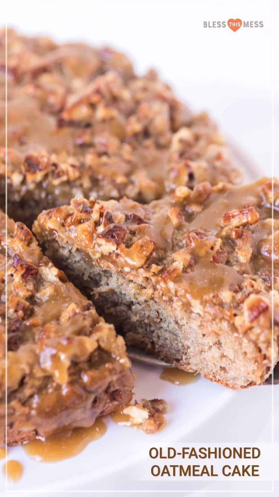 Old Fashioned Oatmeal Cake recipe pin