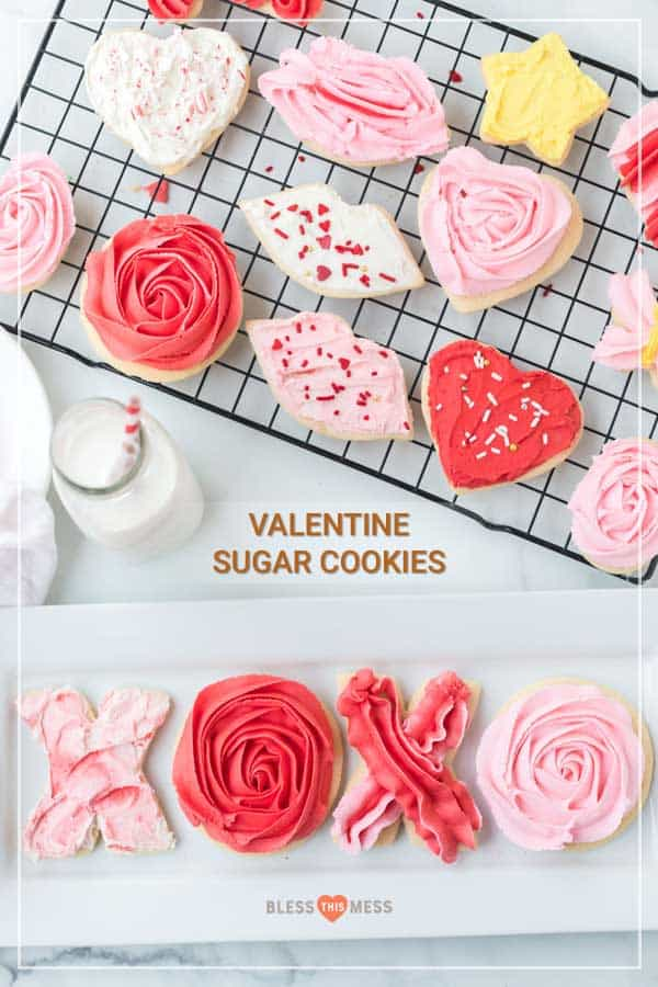 Who doesn't love celebrating the day of love with sweetly decorated and even better tasting Valentine's Day sugar cookies that are moist and decadent for all the loved ones who fill your life?! They are totally easy and totally fun to make with (or for) all the folks who fill your world with sunshine, warmth, and love on Valentine's Day or any day of the year! #sugarcookies #valentinesdaycookies #valentinesdaysugarcookies #easycookies #cookies #cookierecipe