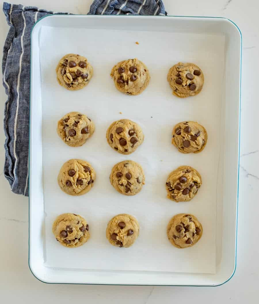 white tray with chocolate chip cookies