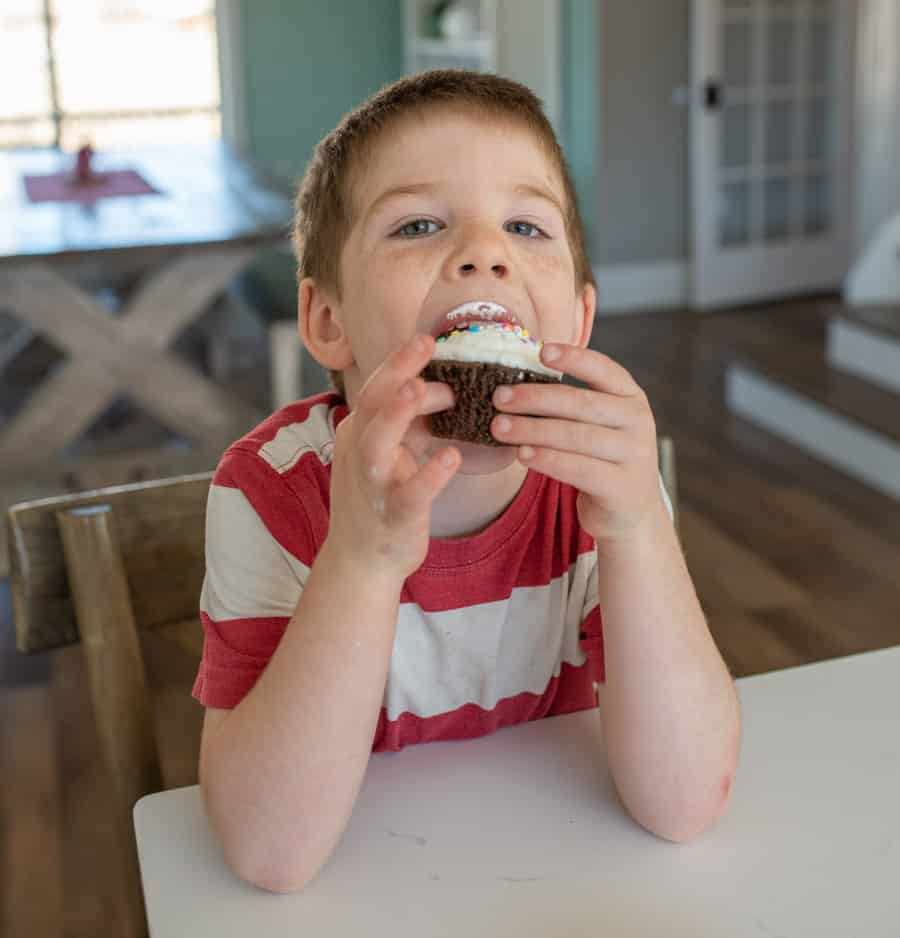 boy in red and white striped shirt eating chocolate cupcake with vanilla frosting