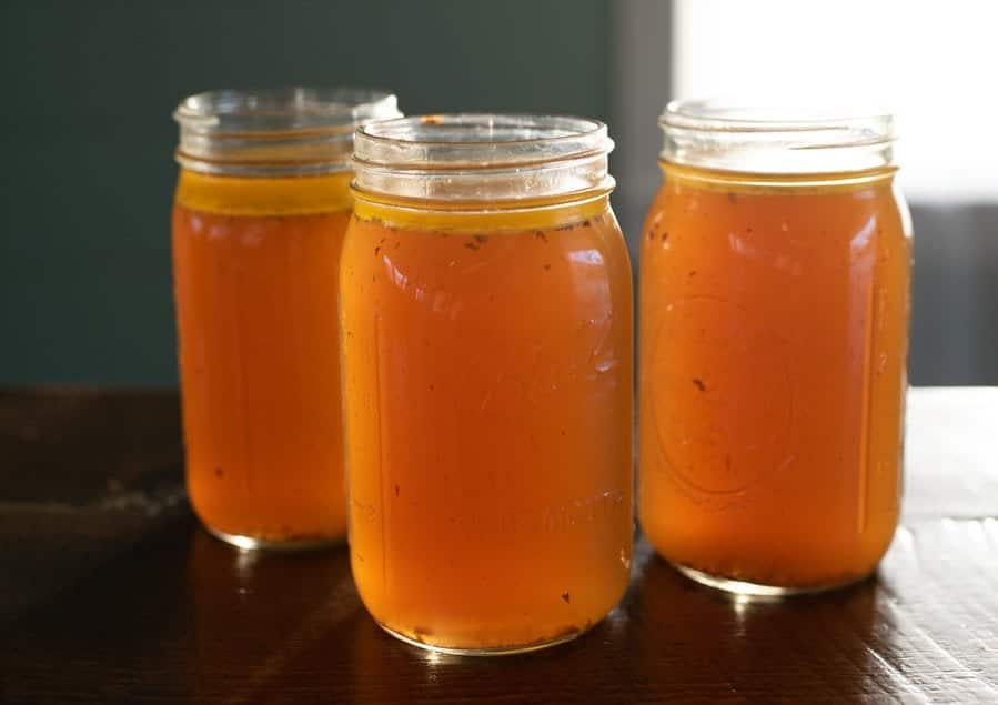 bone broth in mason jars