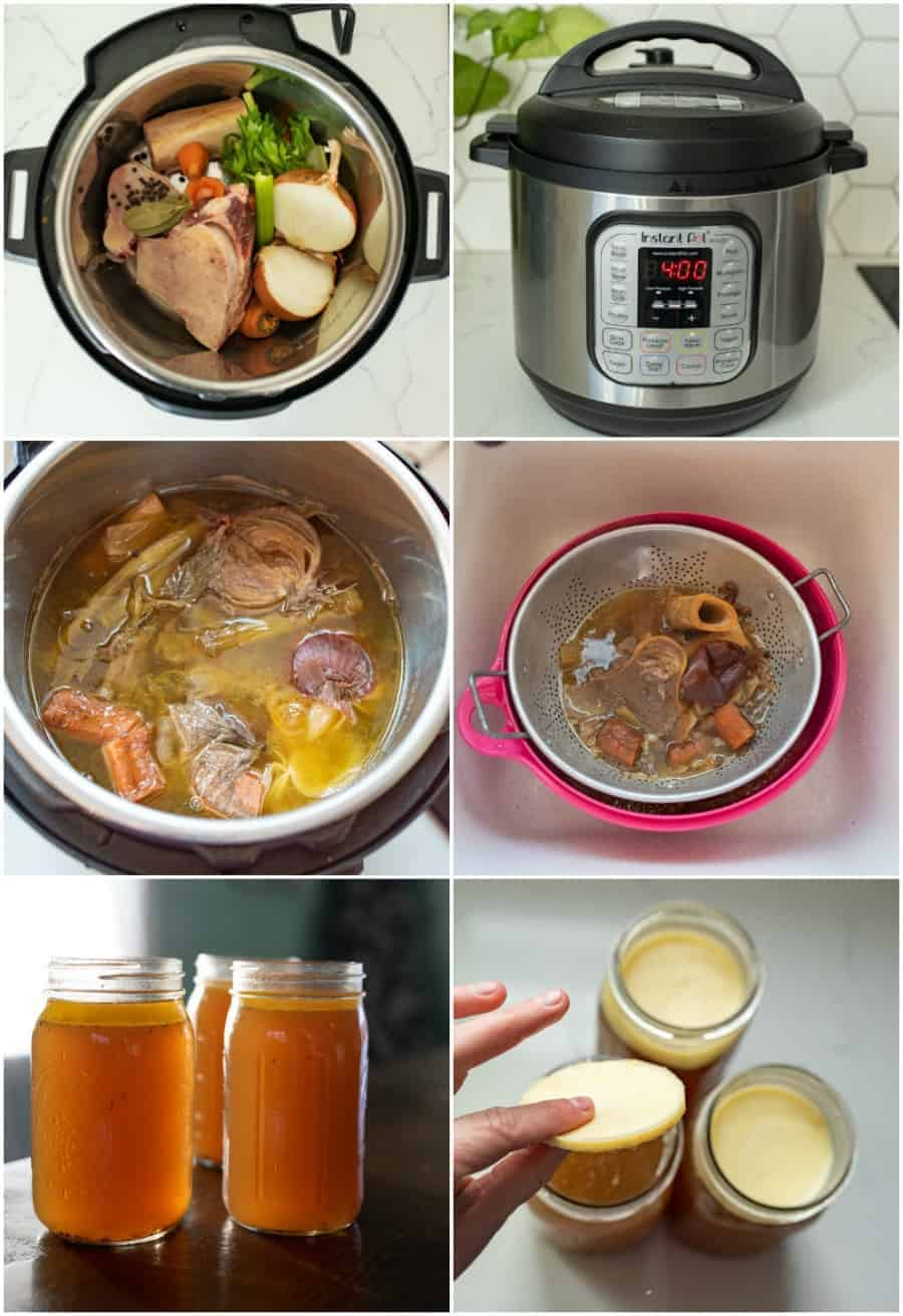collage image of how to make beef bone broth in instant pot