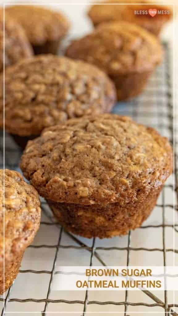 brown sugar muffins on cooling rack pin
