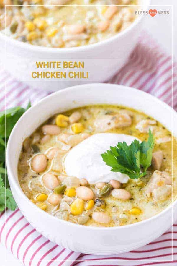 white bowl filled with white bean chicken chili