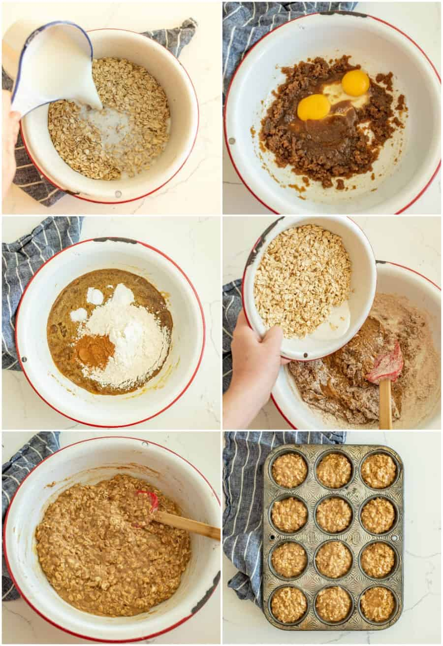 how to make brown sugar oatmeal muffins collage image