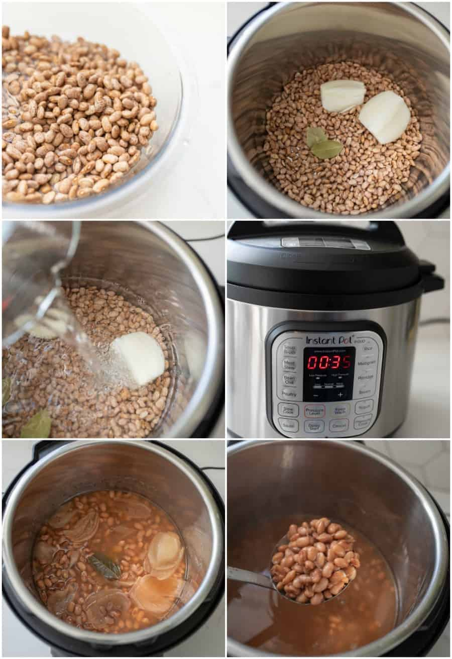 collage image with step by step images of how to make pinto beans in an instant pot