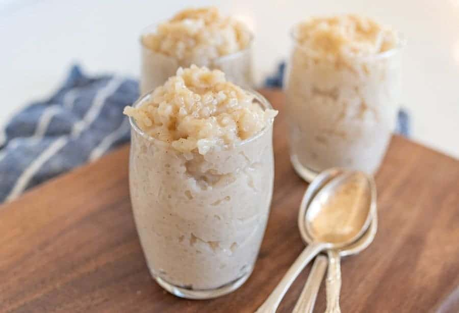 glasses of instant pot rice pudding