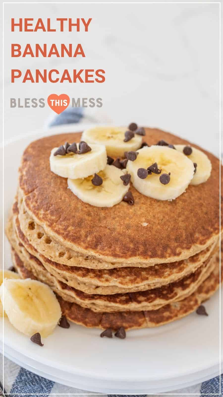 stack of healthy banana pancakes topped with banana slices and chocolate chips