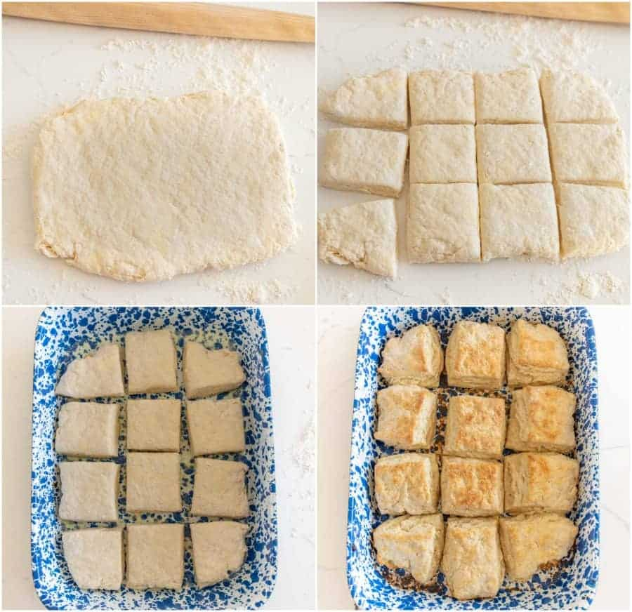 how to make quick sourdough biscuit dough collage image
