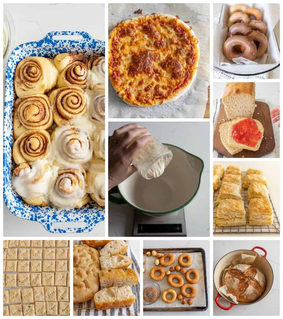 sourdough collage of 10 different recipes like cinnamon rolls, traditional bread, biscuits and more