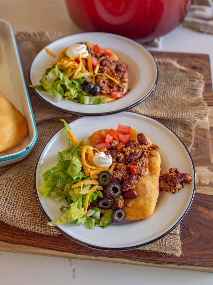 prepared navajo taco on a plate
