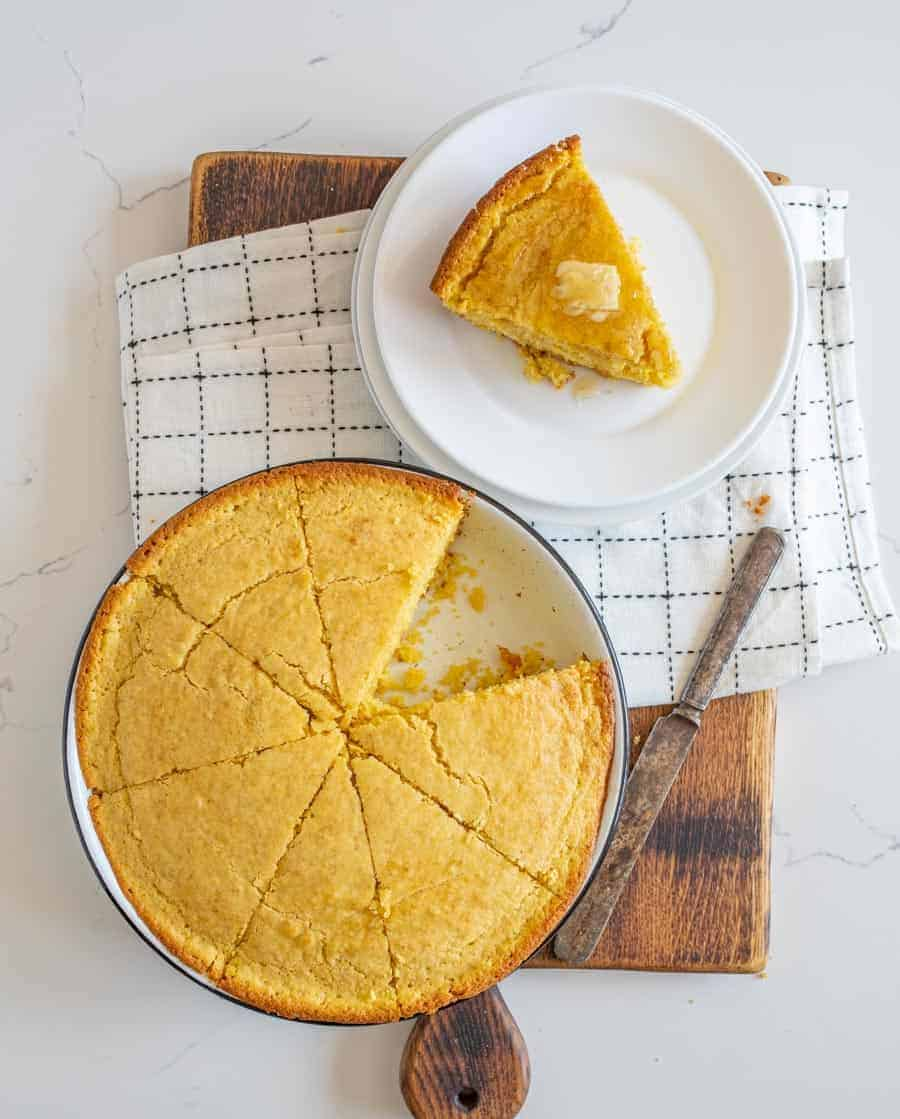 cornbread sliced and ready to serve