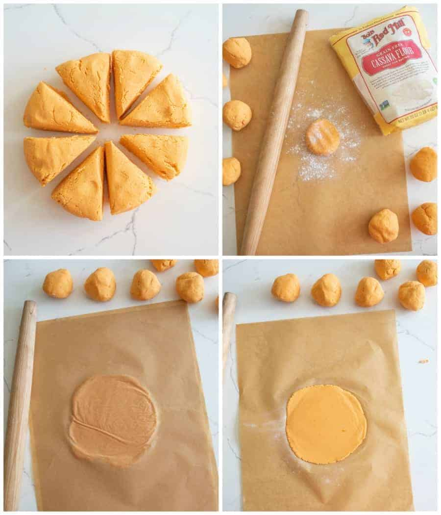 picture collage on how to roll out tortillas without a tortilla press